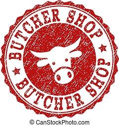 Scratched BUTCHER SHOP Stamp Seal