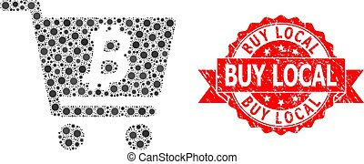 Scratched Buy Local Stamp and Covid Mosaic Bitcoin Webshop