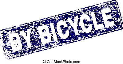 Scratched BY BICYCLE Framed Rounded Rectangle Stamp
