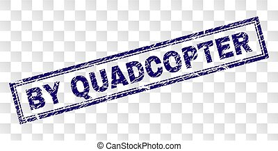 BY QUADCOPTER stamp seal print with corroded style and double framed rectangle shape. Stamp is placed on a transparent background.