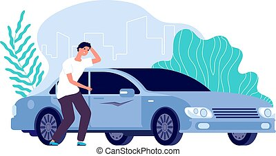 Scratched car. Man worried, auto needs repair. Disappointed businessman and vehicle, cartoon worry guy and spoiled transport vector concept