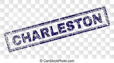 Scratched CHARLESTON Rectangle Stamp - CHARLESTON stamp seal...