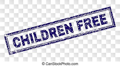 Scratched CHILDREN FREE Rectangle Stamp