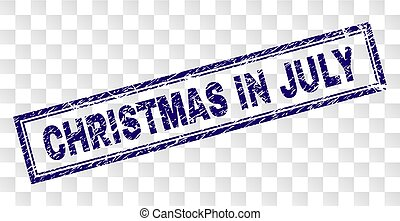 CHRISTMAS IN JULY stamp seal imprint with rubber print style and double framed rectangle shape. Stamp is placed on a transparent background.