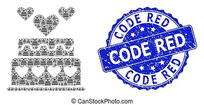 Scratched Code Red Round Seal Stamp and Recursive Marriage Cake Icon Composition