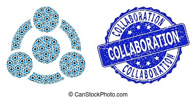 Scratched Collaboration Round Stamp and Recursive Collaboration Icon Mosaic