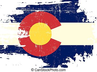 Scratched Colorado Flag - A flag of Colorado with a grunge...