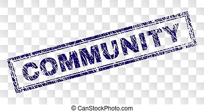 Scratched COMMUNITY Rectangle Stamp