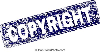 Scratched COPYRIGHT Framed Rounded Rectangle Stamp