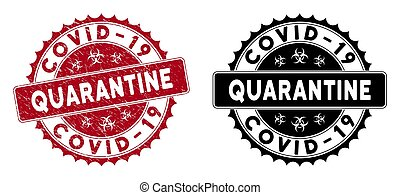 Scratched Covid-19 Quarantine Round Red Stamp