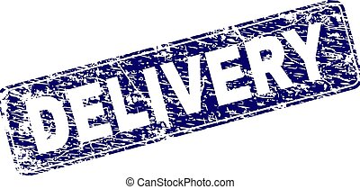 Scratched DELIVERY Framed Rounded Rectangle Stamp - DELIVERY...