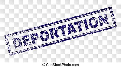 DEPORTATION stamp seal watermark with rubber print style and double framed rectangle shape. Stamp is placed on a transparent background.