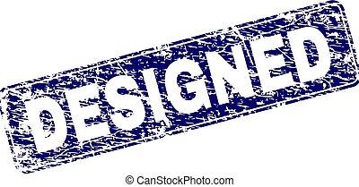 Scratched DESIGNED Framed Rounded Rectangle Stamp