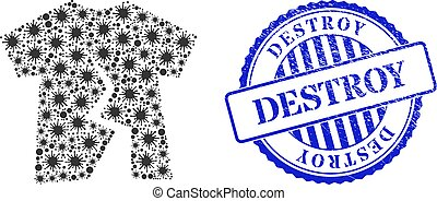 Scratched Destroy Stamp and Infection Torn T-Shirt Mosaic Icon