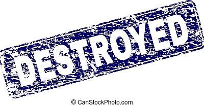 Scratched DESTROYED Framed Rounded Rectangle Stamp