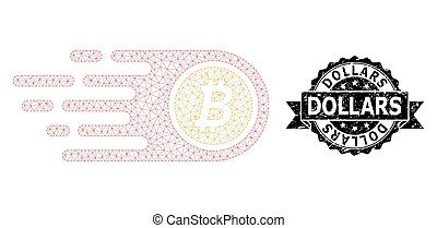 Scratched Dollars Ribbon Seal and Mesh Wireframe Bitcoin