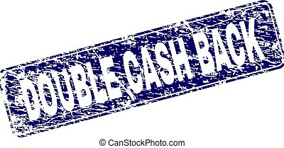 Scratched DOUBLE CASH BACK Framed Rounded Rectangle Stamp