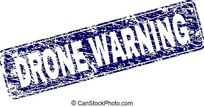 Scratched DRONE WARNING Framed Rounded Rectangle Stamp