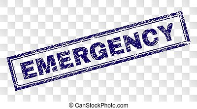 Scratched EMERGENCY Rectangle Stamp