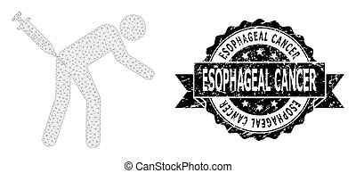 Esophageal Cancer rubber stamp and vector man vaccination mesh model. Black stamp has Esophageal Cancer text inside ribbon and rosette. Abstract 2d mesh man vaccination, built from flat mesh.