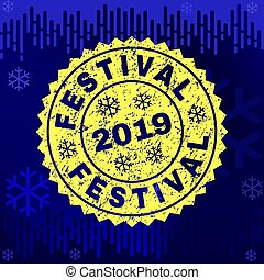 Scratched FESTIVAL Stamp Seal on Winter Background