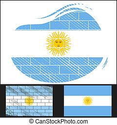 Scratched flag of Argentina