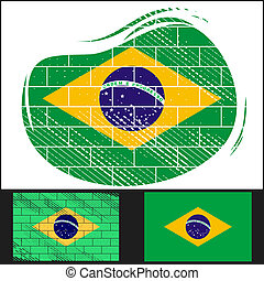 Scratched flag of Brazil