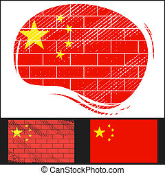 Scratched flag of China
