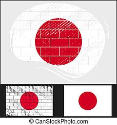 Scratched flag of Japan