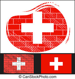 Scratched flag of Switzerland