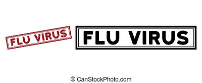 Scratched Flu Virus Rectangle Frame Stamp