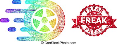 Bright colorful network car wheel, and Freak grunge ribbon stamp seal. Red stamp seal includes Freak caption inside ribbon.Geometric wire carcass flat network based on car wheel icon,