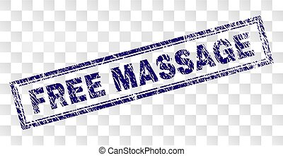 Scratched FREE MASSAGE Rectangle Stamp