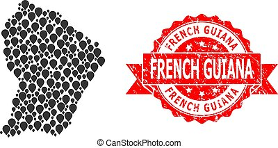 Scratched French Guiana Stamp and Pointer Mosaic Map of ...