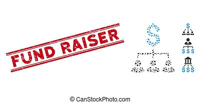 Rubber red stamp seal with Fund Raiser text between double parallel lines, and collage banker links icon. Mosaic vector is designed with banker links pictogram and with random ellipse spots.