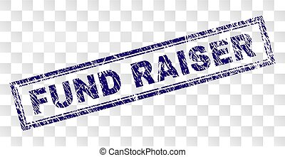 FUND RAISER stamp seal print with rubber print style and double framed rectangle shape. Stamp is placed on a transparent background. Blue vector rubber print of FUND RAISER text with unclean texture.