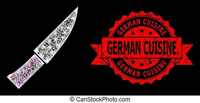 Scratched German Cuisine Seal and Bright Web Mesh Knife with Light Spots