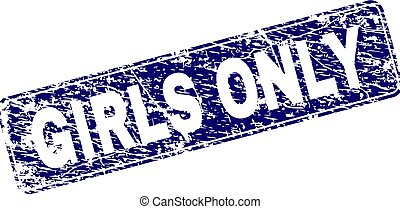Scratched GIRLS ONLY Framed Rounded Rectangle Stamp - GIRLS...