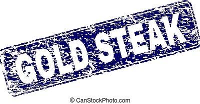 Scratched GOLD STEAK Framed Rounded Rectangle Stamp - GOLD...
