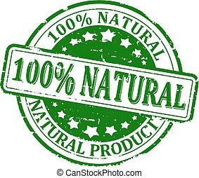 100% natural product - Scratched green round stamp with the ...