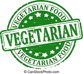 vegetarian food - Scratched green round stamped - vegetarian...