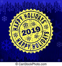 Scratched HAPPY HOLIDAYS Stamp Seal on Winter Background