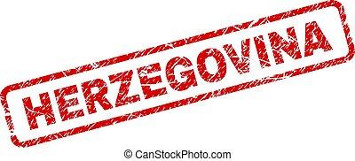 Scratched HERZEGOVINA Rounded Rectangle Stamp