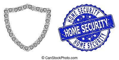 Scratched Home Security Round Seal Stamp and Recursive Shiled Icon Collage