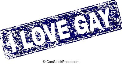 Scratched I LOVE GAY Framed Rounded Rectangle Stamp