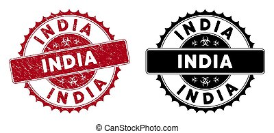 Scratched India Rounded Red Stamp Seal