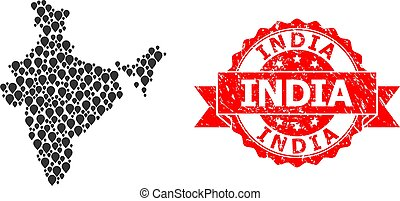 Scratched India Stamp and Marker Mosaic Map of India - ...