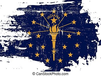 Scratched Indiana Flag - A flag of Indiana with a grunge...