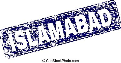 Scratched ISLAMABAD Framed Rounded Rectangle Stamp -...