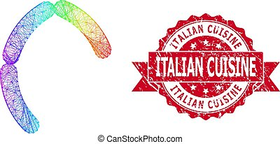 Scratched Italian Cuisine Stamp Seal and Rainbow Hatched Sausages